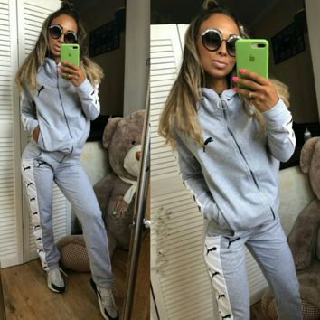 Gray Sports PUMA Pants Top Two Pieces