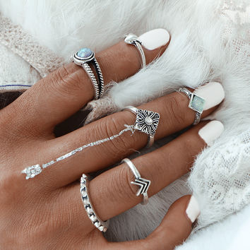 2017 NEW Fashion Boho Crystal Rock Jewelry Ring Set For Woman Bohemia Antique Silver Color Rings Jewelry Party Gift 0527