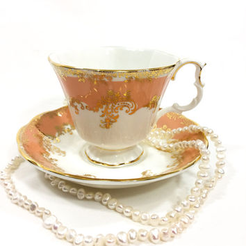 Royal Albert Tea Cup and Saucer, Rare Opal Color Regina Series, Apricot & Gilded Floral Motif, English Tea Cup, 1980s, Vintage