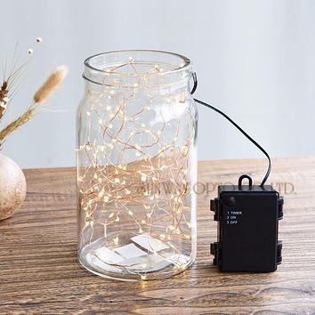 Battery Powered LED String Lights 50LED Outdoor Indoor Waterproof Starry String Copper Wire Lights For Christmas Wedding Dcro