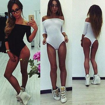 Womens New Plain Long Sleeve Ladies Off Shoulder Stretch Leotard Bodysuit Top