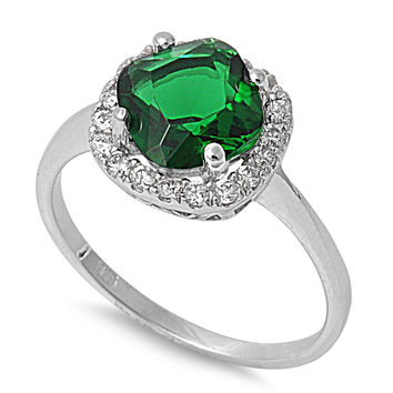 925 Sterling Silver CZ Embraced Diamond Shaped Simulated Emerald Ring 8MM