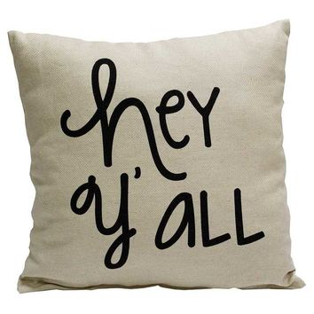 Burlap Hey Y'all Pillow | Hobby Lobby