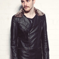 Men's Black Biker Jacket With Detachable Fur Collar
