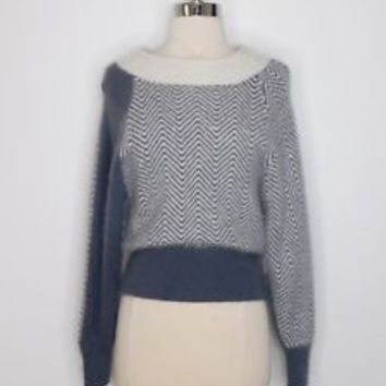 vintage 80s womans gray ivory PGS lambswool angora soft winter sweater M L38-31