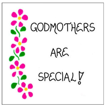 Refrigerator Magnet - Godmother - Godparent quote, pink flowers, green leaves