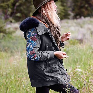 Free People Womens Follow Me Close Parka - Olive