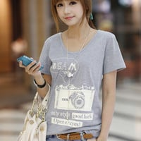 Letters Image Print Short Sleeve T-Shirt