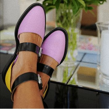 Summer Leather Buckle Cutout Close Toe Flats