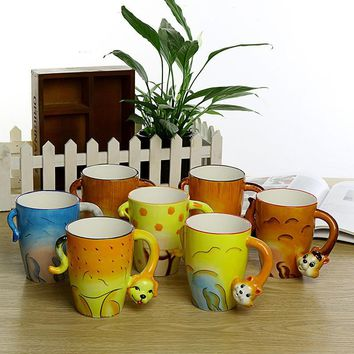 350ml Artwork Festival gift Ceramic coffee milk tea mug 3D animal shape Hand painted LION Monkey Dog Cat Elephant cup