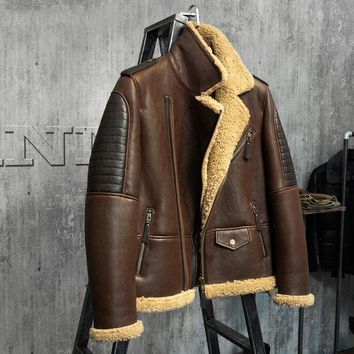 Dark Brown B3 Jacket Men's Shearling Leather Jacket Original Flying Jacket Men's Fur Coat Aviation Leathercraft Pilots Coat