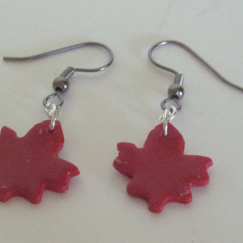 Canada Earrings Polymer Clay Earrings Maple Leaf Earrings Polymer Clay Jewelry
