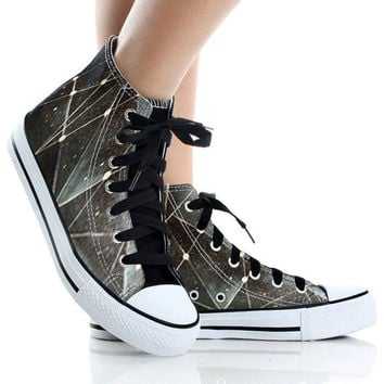Harajuku black galaxy,High Top,canvas shoes,Painted Shoes,Special Christmas Gift,Birthday gift,Men Shoes,Women Shoes