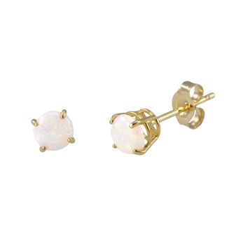 Opal Earrings October Birthstone Studs 14k Yellow Gold Basket Setting Round 5bb7a04f2c