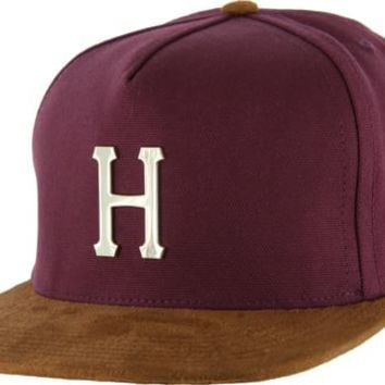 HUF Gold Metal H Strap Back Hat - burgandy - Men's Clothing > Hats & Beanies > Hats > Snapback Hats