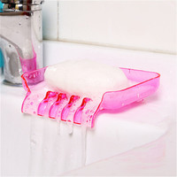 Colorful Waterfall Soap Holder Tray Drain Sucker Holder Bathroom Shower Soap Dish Tray Storage Box
