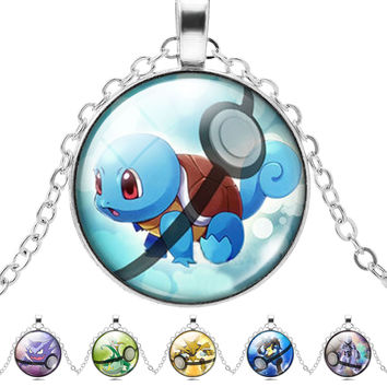 Pokemon Inspired necklace Glass pendant Dome Cabochon Pendant Jewelry Silver Plated Pendant Pokemon Charm Jewelry