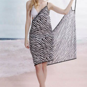 Black and White Zebra Beach Cover-up
