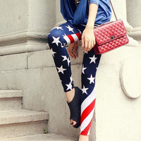 Stars and Stripes Girl Legging Pants Jeans wear out Look Sexy