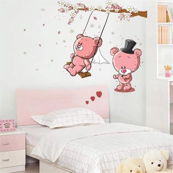 Couple Pink Bear Swing Tree Wall Stickers For Kids Rooms Kindergarten Nursery Baby Children Room Home Decor Art Mural DIY Decal