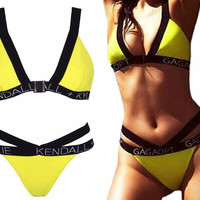 KENDALL NDALL KYLIE Sexy Cut Out Bandage High Waist Bikini Set Push Up Swimwear Best Soft Swimsuits Bathing Suit