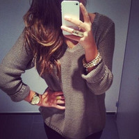 New 2015 Women Fashion V-Neck Long Sleeve Solid Pullover Knitting Sweater = 1920328708