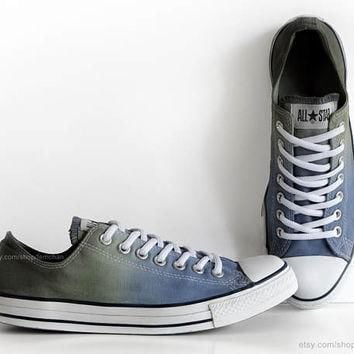 Blue, olive green ombr¨¦ dip dye Converse, All Stars, upcycled sneakers, transformed vi