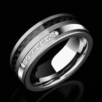 Special Design High Polished Man'S Tungsten Rings 8Mm Width Inlay Black Carbon Fiber White Cz Stones Size 7-11