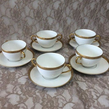 5 Limoges France Gold Encrusted Clover Cream Soups & Saucers, White Gold Bullion Cups and Underplates, Elegant Dining, Wedding Table Decor
