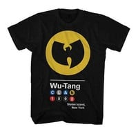 Wu-Tang Clan Subway Sign 1992 Hip Hop Licensed Adult T-Shirt - Black - S