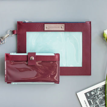 Pocket Plum Clutch With Transparent Window for Smartphone