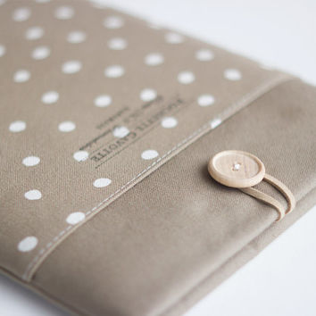 "13 inch Macbook Air sleeve Macbook Pro Retina 13"" Custom Laptop Laptop sleeve / Polka Dot Taupe Stone Grey Greige"