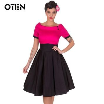 OTEN 2018 Ladies Summer short sleeve Vintage Retro 50s 60s Rockabilly Skater Swing Midi Flare dress clothing vestido de festa