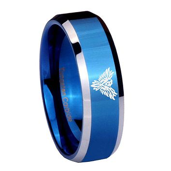8MM Shiny Blue Phoenix Bevel Edges 2 Tone Tungsten Laser Engraved Ring