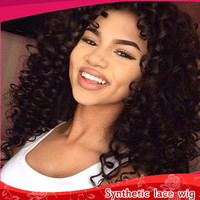 2016 Fashion 150 Density African American Wigs Fiber Afro kinky Curly Hair Wigs Synthetic Lace Front wig for black women