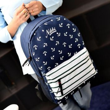 Canvas striped navy style anchor print backpack male female student school bag casual flower unisex backpack MI607