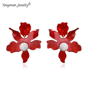 YONGMAN JEWELRY New Lily Flower Earrings Big Exquisite Statement Resin Earrings for Women Girls Shambhala Crystal Drop Earrings