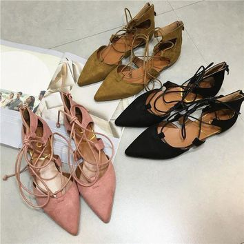 LMFOK3 Pointed Flats Shoes Gray-Black Cross Strap Shoes