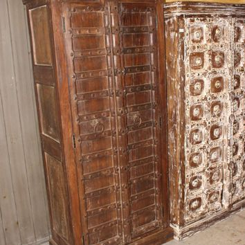 Old Antique Indian Hand Carved Armoire Lovely Cupboard Wardrobe Vintage Storage Interior Design