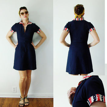 Vintage 1960s PATRIOTIC Dress Stars & Stripes Uniform PINUP Mod SMALL