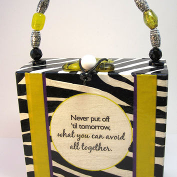 Cigar Box Purse Zebra Print Napkin by handartdesignstudios