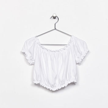 T-shirt with gathered Bardot neckline - Tops - Bershka United States