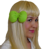 Mini Minnie Mouse Poofy Hair Bow Clip in Apple Green