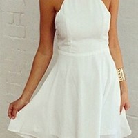 White Spaghetti Strap Square Neck Halter Cut Out Back Chiffon Skater Circle A Line Flare Mini Dress