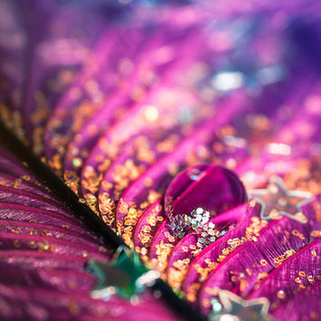 Jewel Water Drop Photography Print | Glitter Purple Bokeh 1920's Feather | Home Office Bedroom Bathroom Decor