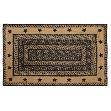 Farmhouse Jute - Stencil Stars - Braided Rectangle - Country Black & Tan - 36 x 60 - Rug