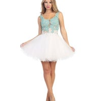 Aqua & White Lace & Tulle Illusion Short Dress 2015 Homecoming Dresses