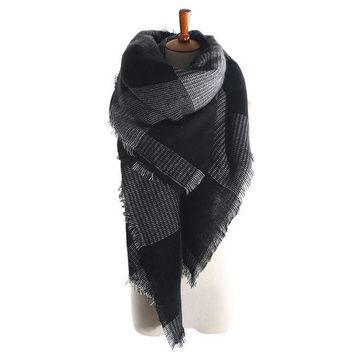 MDIG9GW za Arrival Wool Blend Blanket Oversized Tartan Scarf Wrap Shawl Plaid Checked Pashmina