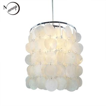 Loft modern white natural seashell chandelier ceiling E14 LED shell lighting for dining room living room kitchen bedroom fixture