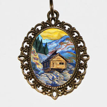 Hut In The Mountains, Log Cabin, Fine Art Jewelry, Cottage, Bronze Oval Pendant